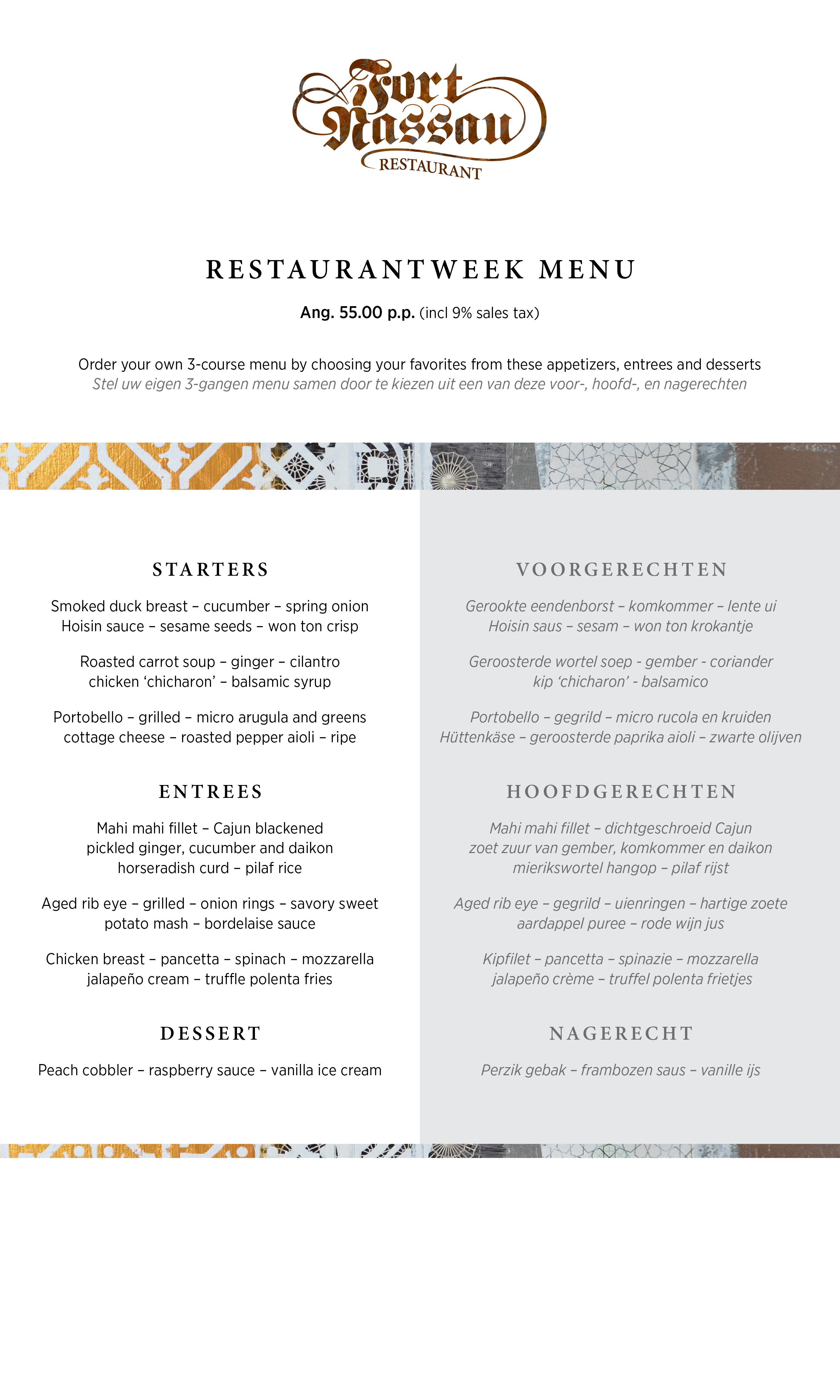 Restaurantweek Menu juni 2016