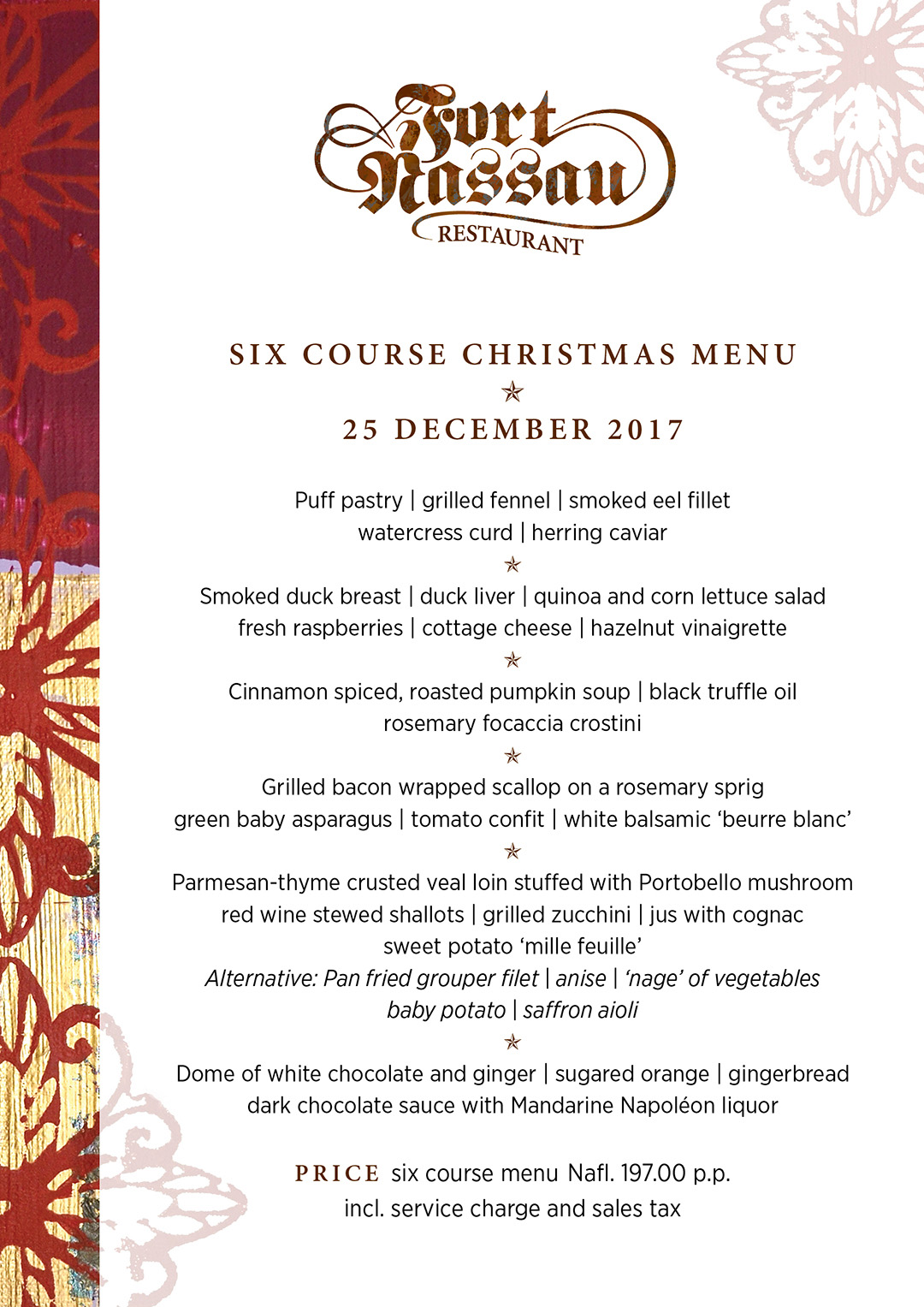 Six Course Christmas menu